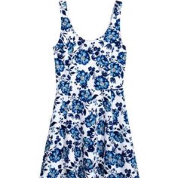 6df8cf355239 H M Dresses   Skirts - H M white and blue floral skater dress