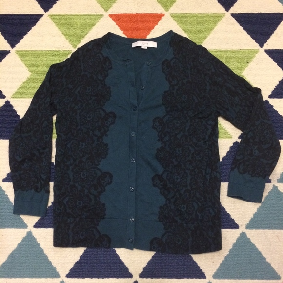 Ann Taylor Sweaters - Ann Taylor 3/4 Sleeve Lace Print Cardigan