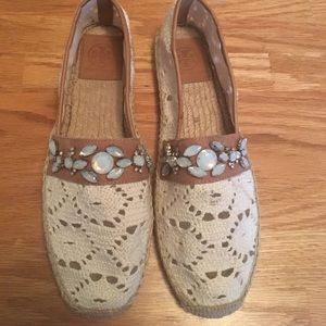 Tory Burch Size 10 Jeweled Crochet Flats!