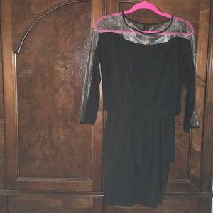 Sexy fun and flirty black silk/lace dress size 2