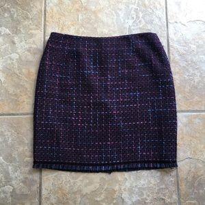 Bandolino Purple Tweed Fringe Pencil Skirt Size 8
