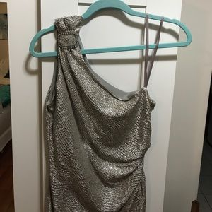 Silver One shoulder Midi party dress size 6