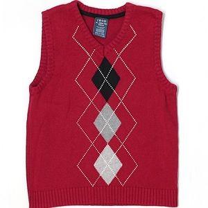 Boys 7X (XL) Izod Red Argyle Sweater Vest
