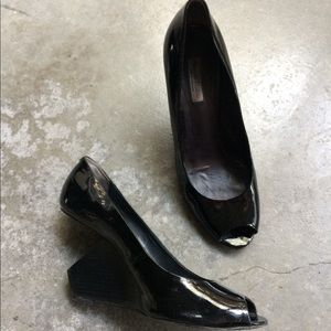 PLV patent latex look black art house block heel