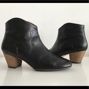 ISABEL MARANT DICKER BLACK LEATHER BOOTIE, SIZE 40