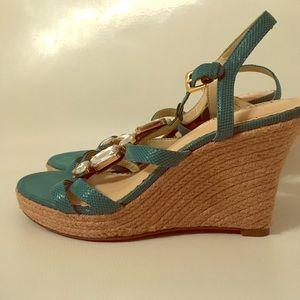 Jewel Embellished Braided Animal Wedge Heels