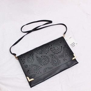 NWT H&M Black Laser Cut-Out Clutch/Crossbody Purse