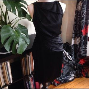 Helmut Lang black silk dress 6 medium Grecian