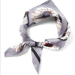 Floral small square silk scarf