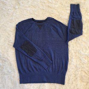 Men's Banana Republic Blue Chambray Patch Sweater
