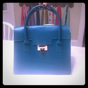 Teal just fab purse with gold buckle