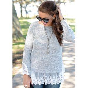 ChicWish Lace Hem Knit Top NWT