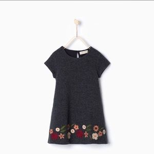 Zara Girls Sz 11/12 152cm Embroidered Flower Dress