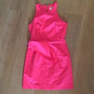 Milly neon pink peplum sheath dress 4