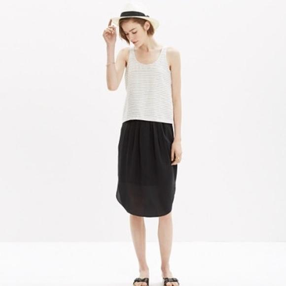9a5433261d Madewell Dresses & Skirts - MADEWELL BLACK SILK ISLAND SKIRT DOLPHIN HEM XS