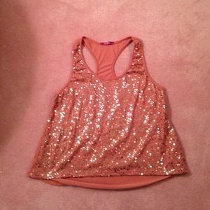 Junior tank bronze with sparkly front size XL