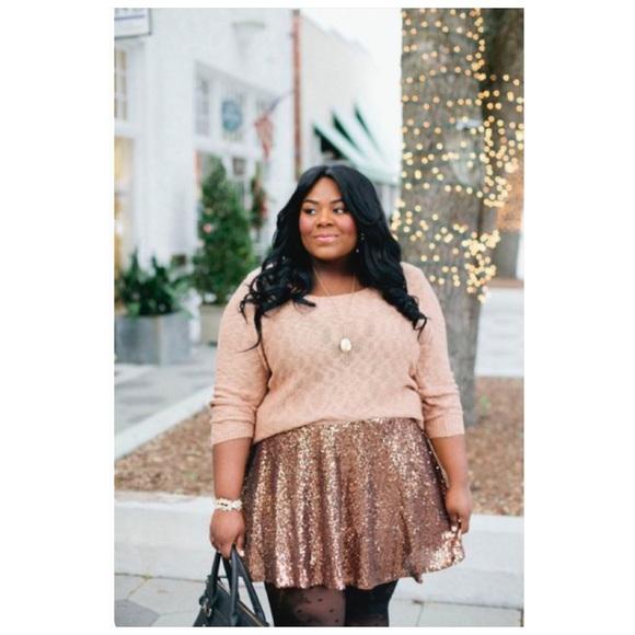 82ab07e0805 Charlotte Russe Plus Size Sequin Skater Skirt
