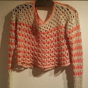 Orange Oatmeal Free People Cropped Sweate