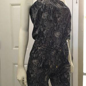EXPRESS Gray Snakeskin Strapless Romper Jumpsuit