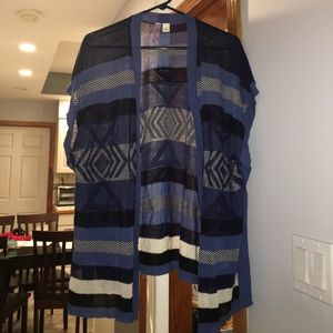 Blue stripped sweater cardigan kimono