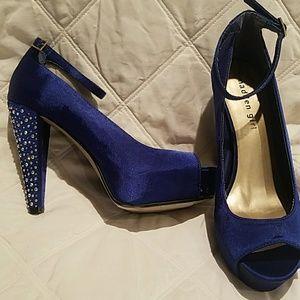 Royal blue platform with rhinestone heels