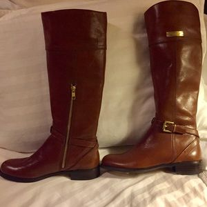 NWT Coach Leather Boots in Chestnut
