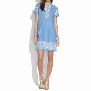 Madewell Sunstitch Embroidered Blue Chambray Dress