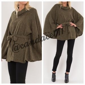 Olive Kimono Belted Poncho Sweater