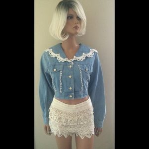 Vintage Denim Lace Jean Pearls Cropped Jacket Coat