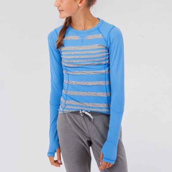 929b48989 lululemon athletica Other - Ivivva blue Gray Striped Long Sleeve Shirt Size  6