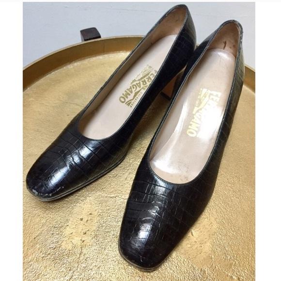 b51abe796a641 ☀️Salvatore Ferragamo Vintage Black Heels 8.5