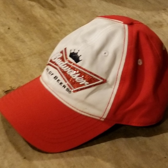 57c793aa7aa budweiser Accessories - Sparkly Red and White Budweiser Beer Fitted Hat
