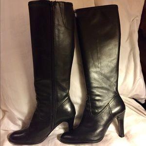 Ralph Lauren black leather high heel boots