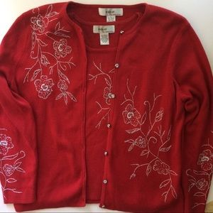 ⬇️33 Kikit Red Embroidered Sweater Twinset. Sz XL