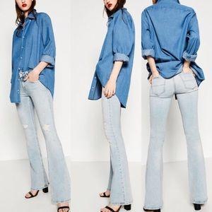 Zara Distressed Flare Jeans