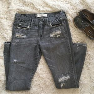 A&F grey studded distressed straight leg jeans 29