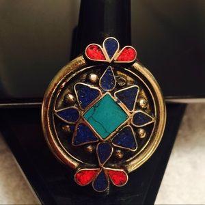 Antique unique lapis-turquoise, Coral Tibetan ring