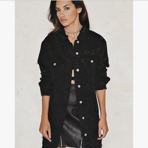 Jackets & Blazers - Black Denim Oversized Boyfriend Jacket