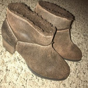 Aldo Faux Fur Speckled Chocolate Brown Ankle Boot.