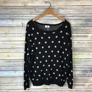 Old Navy Black Beige Polka Dot Sweater