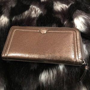 Coach Metallic Wallet with Zipper