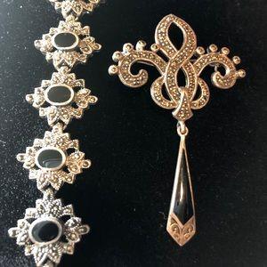 Jewelry - Elegant Art Deco Onyx/Marcasite Brooch & Bracelet