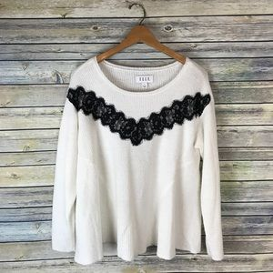 Elle White Black Lace Swing Sweater
