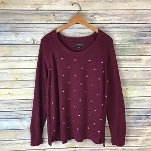 Rock & Republic Maroon Silver Studded Sweater