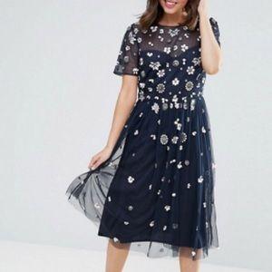 Maya petite floral 3D embellished midi dress