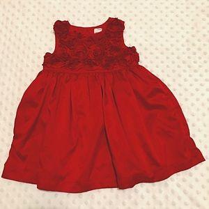 🌹    Red Rosette Baby Girl Dress