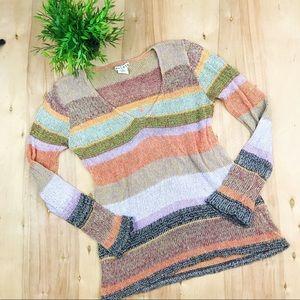 Anthropologie Relais Striped V Neck Sweater