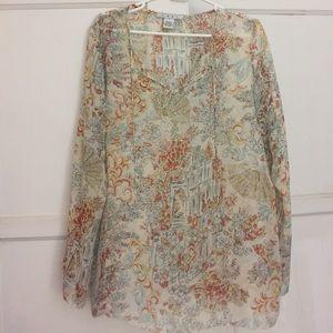 Cabi 💯 Silk Tunic size Large Flowy and Feminine