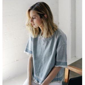 J Brand Frayed Denim Shirt