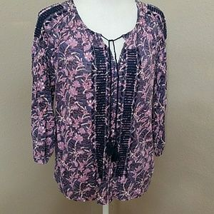 NWOT Lucky Brand Linen Blend Embroidered Peasant